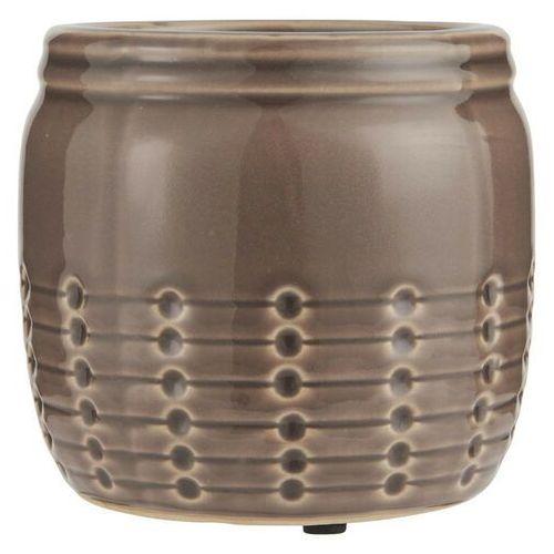 Ib Laursen - Doniczka ceramiczna ze spękanym szkliwem brązowa