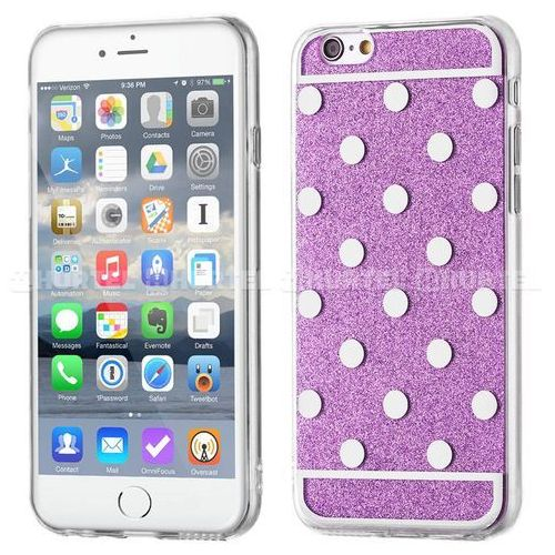 WOZINSKY żelowy pokrowiec Shiny Case brokat iPhone 6S 6 kropki fioletowy - Fioletowy (Futerał telefoniczny)