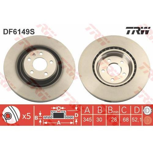 TARCZA HAM TRW DF6149S AUDI A4 1.8TFSI 120KM 08-, 2.0TDI 177KM 11- (3322938150044)