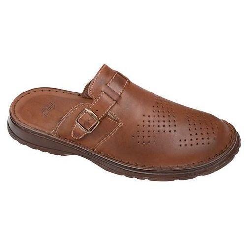Klapki buty ŁUKBUT 951 Brązowe - Brązowy, kolor brązowy