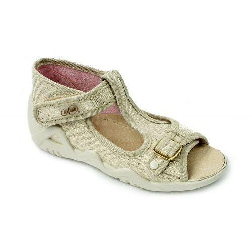 Sandałki dziecięce-dziewczęce, złote, oddychające, profilaktyczne, na rzepy, kolor beżowy