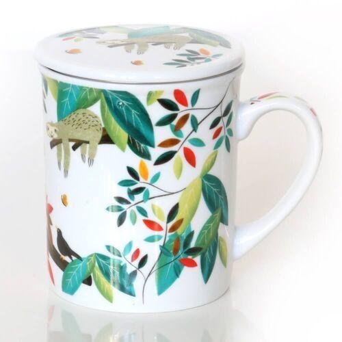 Kubek LENIWIEC z zaparzaczem i pokrywką – uroczy gadżet zestaw do parzenia herbaty prezent podarunek na każdą okazję