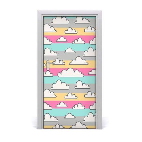 Naklejka samoprzylepna na drzwi Chmury kolorowe tło