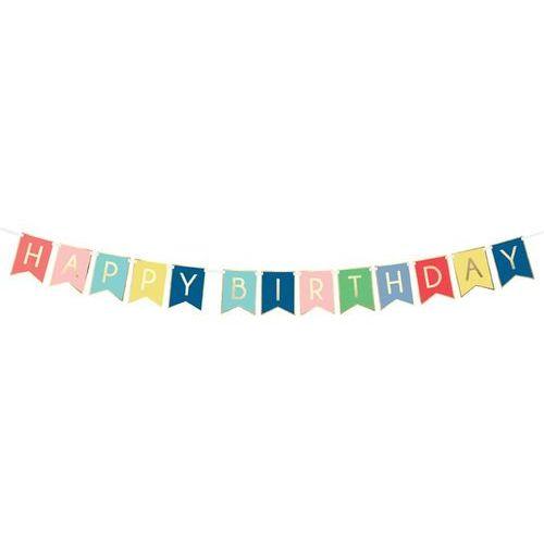 Baner kolorowy z napisem Happy Birthday - 175 cm - 1 szt.