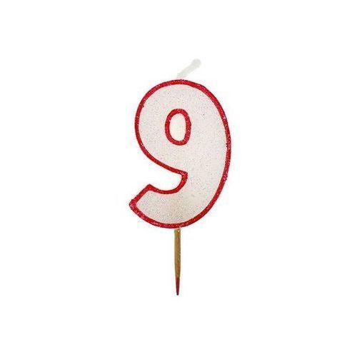 Go Świeczka cyferka z brokatem czerwony kontur 9 (5901238603115)