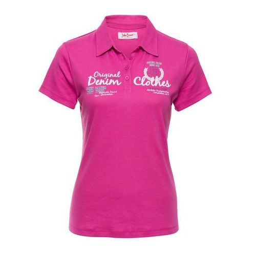 Shirt polo z nadrukiem, krótki rękaw bonprix fuksja, kolor różowy