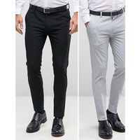 Asos 2 pack super skinny smart trousers in black and pale grey save - multi