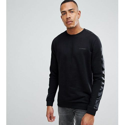 tall crew sweat with satin arm stripe - black marki D-struct