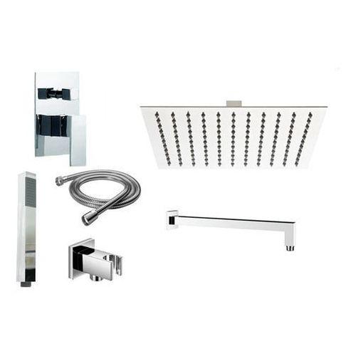 Zestaw prysznicowy podtynkowy 2-funkcyjny z deszczownicą 25cm cubic ramię ścienne marki Zoja