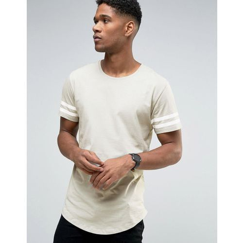 longline t-shirt with arm stripes and curved hem - green marki Only & sons
