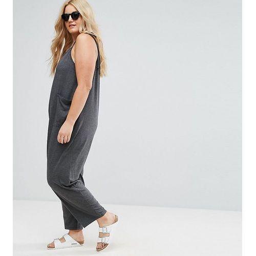 ASOS CURVE Jersey Minimal Jumpsuit with Ties - Grey