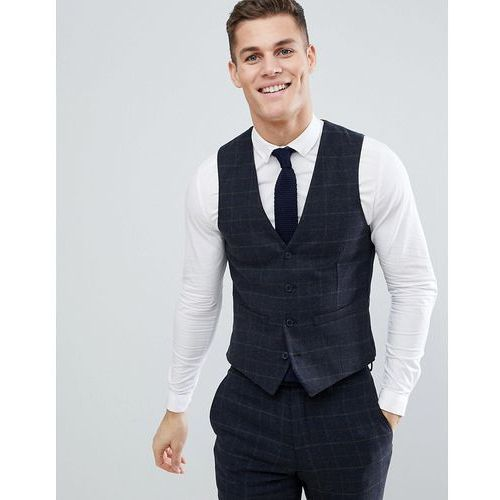 French Connection Brushed Flannel Slim Fit Tobacco Check Waistcoat - Blue, kolor niebieski