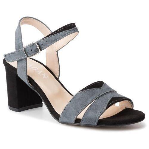 Sandały SAGAN - 2914 Szary Welur/Czarny Welur, w 5 rozmiarach