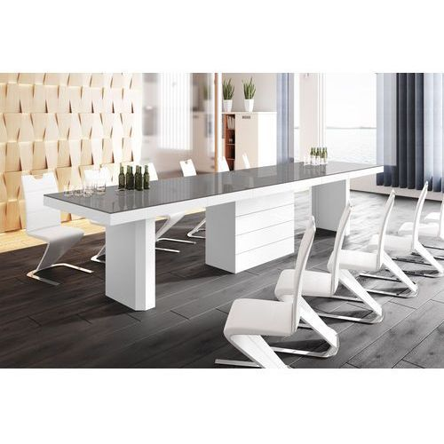 Hubertus design Stół rozkładany kolos 140 szaro-biały wysoki połysk