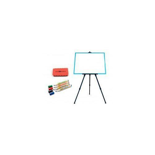 Zestaw - tablica magnetyczna 60x40 rama niebieska + sztaluga + markery + gąbka