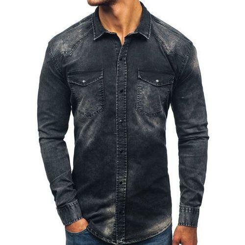 Koszula męska jeansowa z długim rękawem czarna Denley 2063, kolor czarny