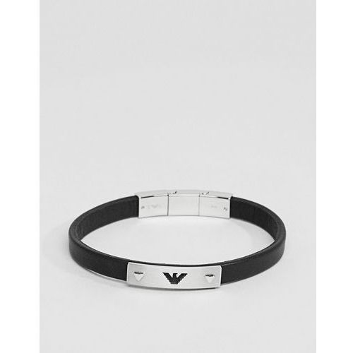 Emporio Armani Leather Eagle Bracelet In Black - Black, kolor czarny