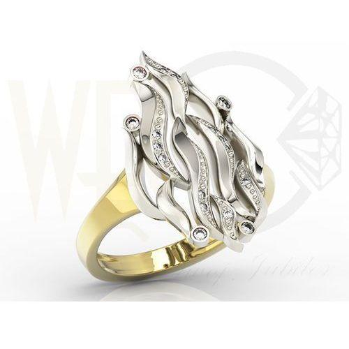 """Węc - twój jubiler Pierścionek """"płomień"""" z żółtego i białego złota z diamentami model ap-5711zb"""