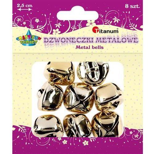 Titanum Dzwoneczki metalowe, 8szt, 25mm złote, craft-fun