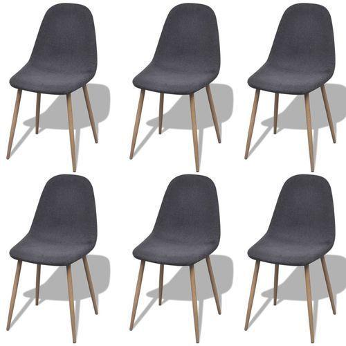 Vidaxl krzesła do jadalni, 6 szt., żelazne nogi, tkanina, ciemnoszare