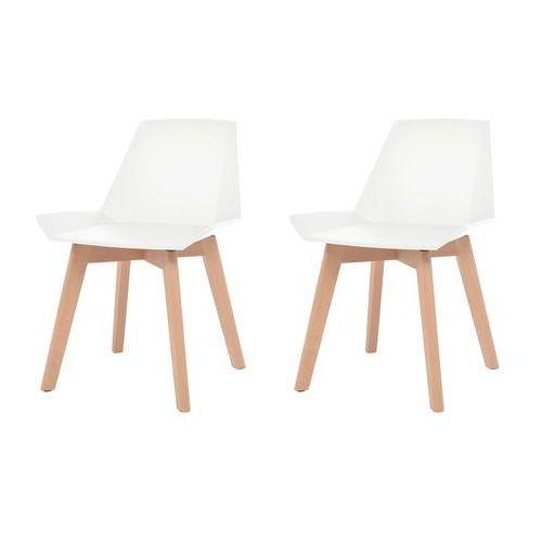 vidaXL Komplet 2 krzeseł, drewniane nogi i białe, plastikowe siedziska, kolor biały