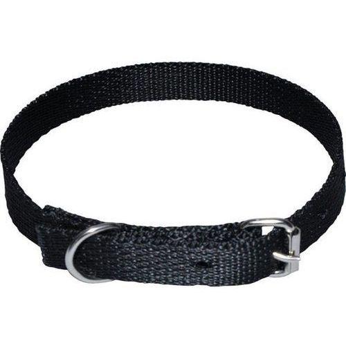 CHABA Mocna taśmowa obroża dla psa gładka - Obwód szyi 33cm-39cm - 33cm-39cm \ Czarny (5905133627443)