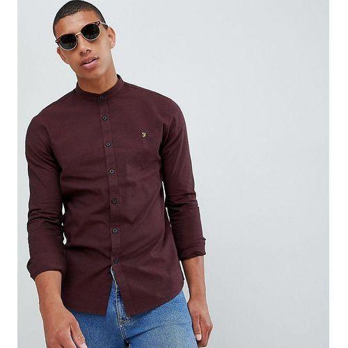 Farah Steen slim fit textured grandad collar shirt in red - Red, kolor czerwony