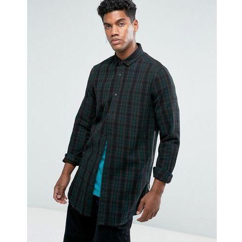 design regular fit longline check shirt with side zips in longline - brown marki Asos