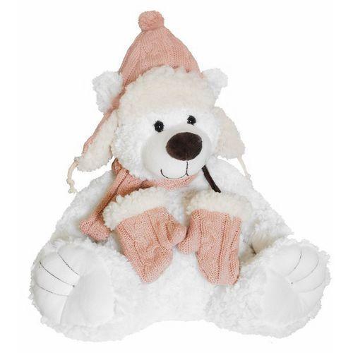 Beppe Miś niels biały w różowej czapce (5901703104482)