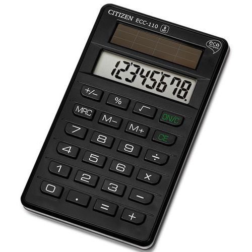 Kalkulator biurowy CITIZEN ECC-110, 8-cyfrowy, 118x70mm, czarny, CI-ECC110