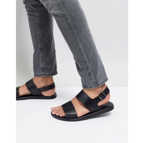 Silver Street Double Strap Sandals In Black Leather - Black