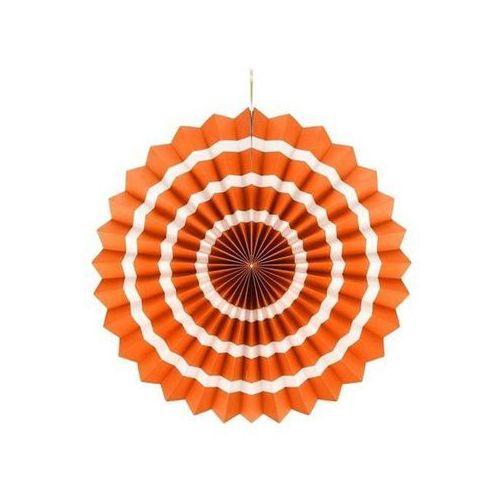 Dekoracja wisząca rozetka pomarańczowo - biała - 40 cm - 1 szt. marki Go