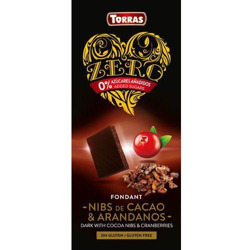Torras Czekolada gorzka z ziarnami kakao i żurawiną bezcukru 125g