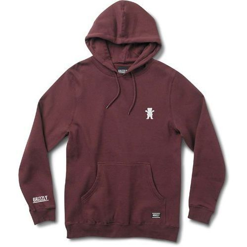bluza GRIZZLY - Og Bear Embroidered Hoody Burgundy-White (BRWH) rozmiar: S, 1 rozmiar