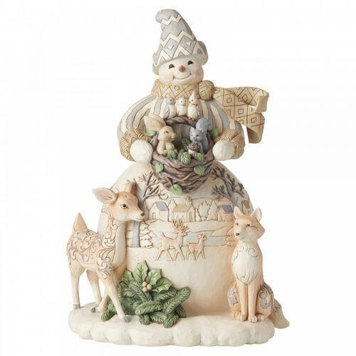Duży bałwanek i leśni przyjaciele White Woodland Snowman Statue 6006575ND Jim Shore figurka ozdoba świąteczna
