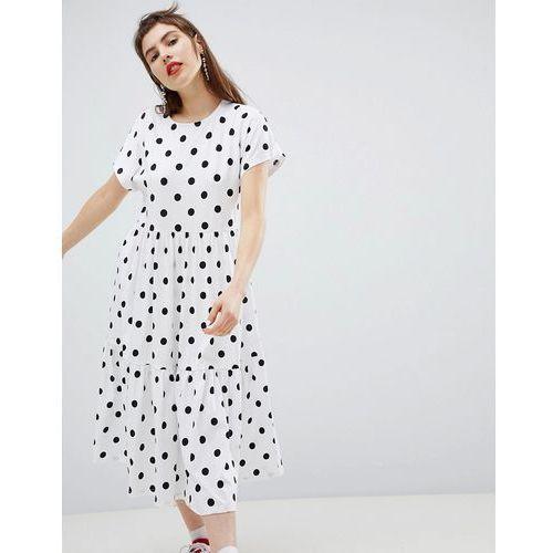 Monki Polka Dot Tiered Midi Dress - White