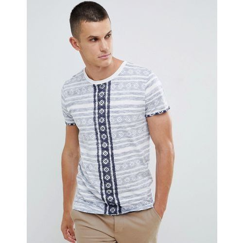 t-shirt in reverse all over aztec print with stepped hem - white marki Tom tailor