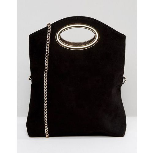 Miss kg thea foldover cut out clutch bag with detachable strap - black