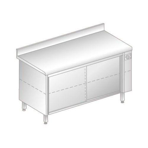 Dora metal Stół przyścienny podgrzewany z drzwiami suwanymi, 1200x600x850 mm   , dm-94372