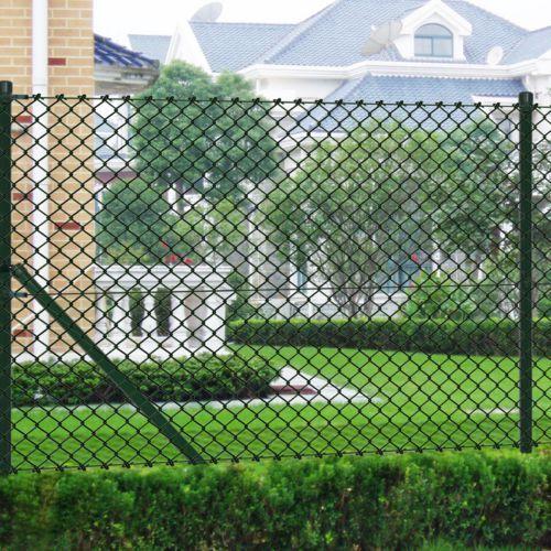 vidaXL Siatka ogrodzeniowa 1.5x15m zielona ze słupkami i osprzętem