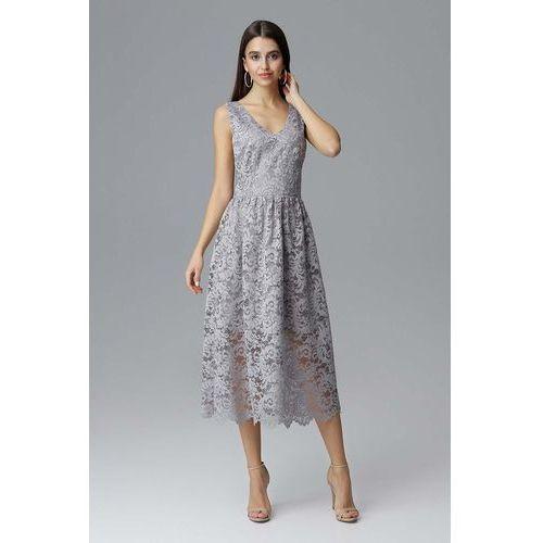 3ee279293b20ec Suknie i sukienki · Szara Rozkloszowana Sukienka Koronkowa na Szerokich  Ramiączkach, kolor szary