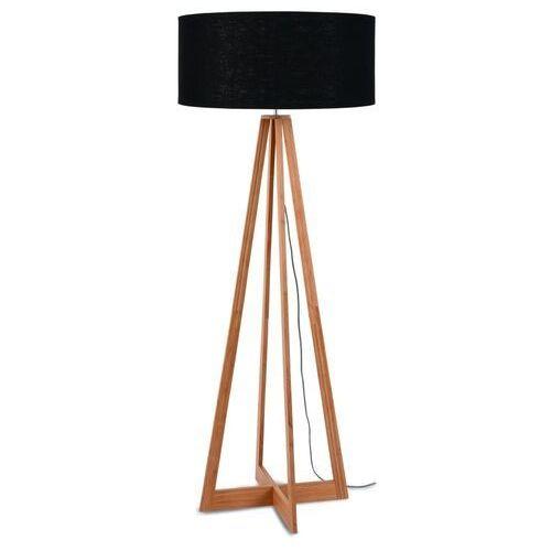 GOOD&MOJO Lampa podłogowa Everest bambus 4-nożna 127cm/abażur 60x30cm, lniany czarny EVEREST/F/6030/B, EVEREST/F/6030/B