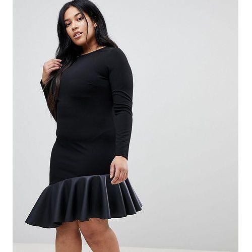 Asos curve pu pephem mini dress - black