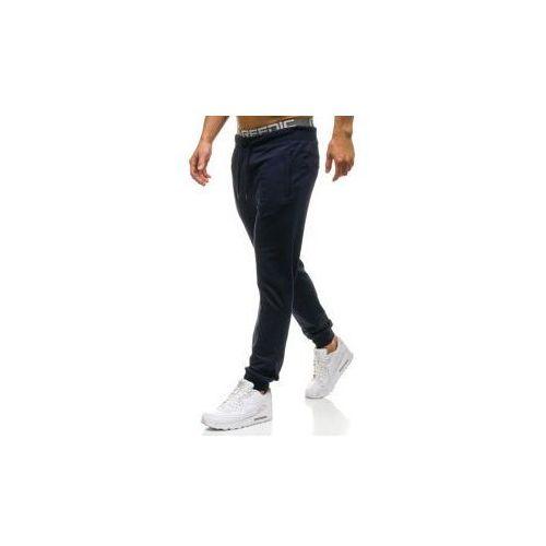Spodnie męskie dresowe joggery granatowe Denley W2660, kolor niebieski