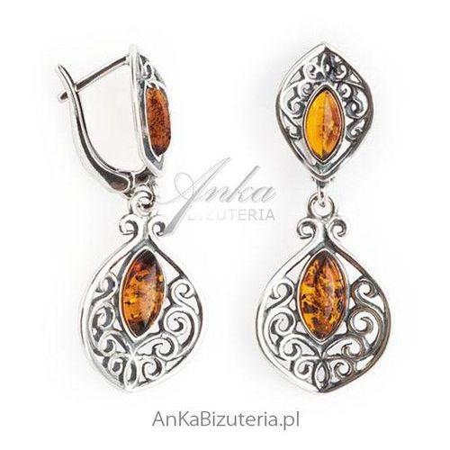 Biżuteria srebrna bursztyn Kolczyki srebrne z koniakowym bursztynem, kolor pomarańczowy