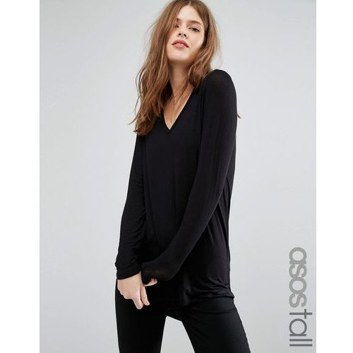 Asos tall  the new forever t-shirt with long sleeves and dip back - black