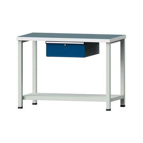 Kompaktowy stół warsztatowy, blat uniwersalny,szer. x głęb. 1140 x 650 mm, 1 szuflada marki Anke werkbänke - anton kessel