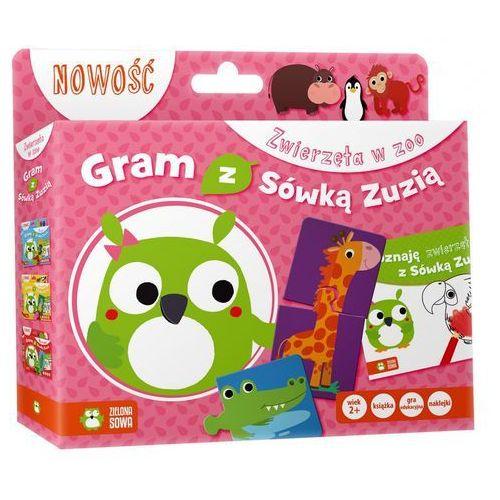 Zielona sowa Gram z sówką zuzią. zwierzęta w zoo (książka +gra)