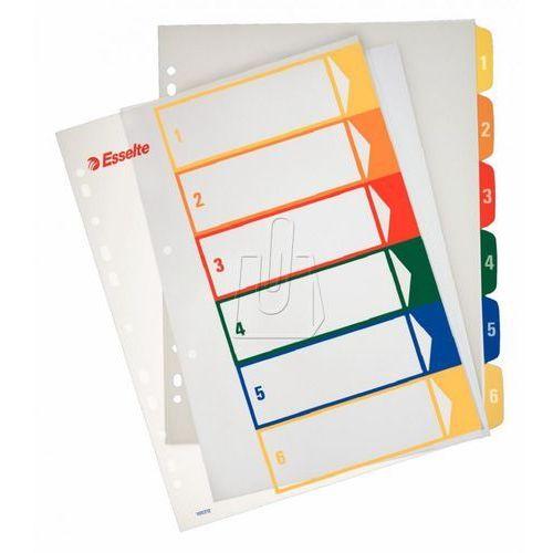 Przekładki ESSELTE plastikowe z PP do nadruku 1-6 A4 numeryczne kolorowe (5411313002127)