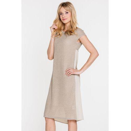 Beżowa sukienka z łączonych materiałów - Far Far Fashion